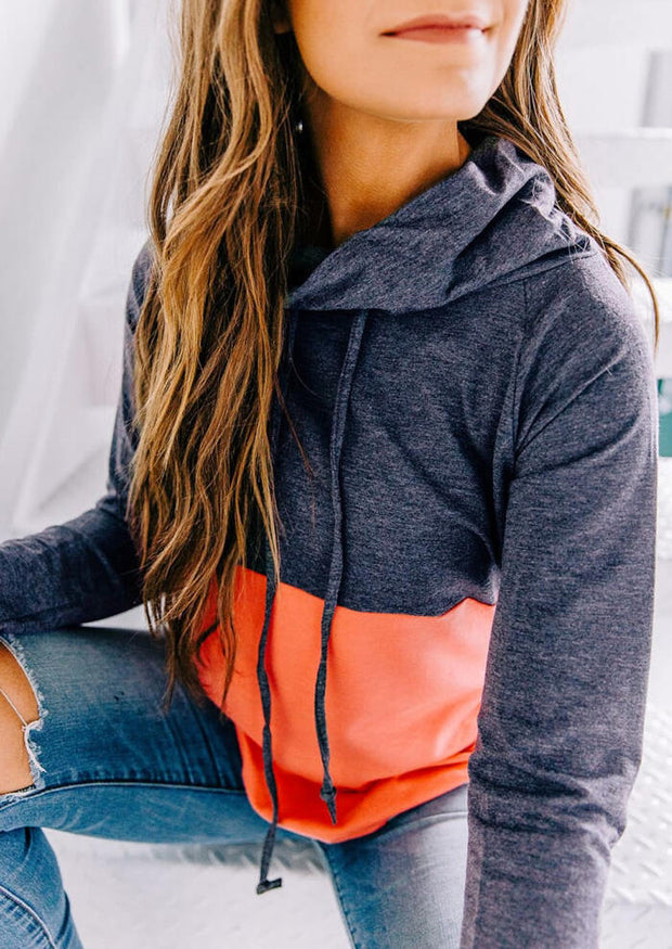 Color Block Splicing Drawstring Thumbhole Sweatshirt - Orange