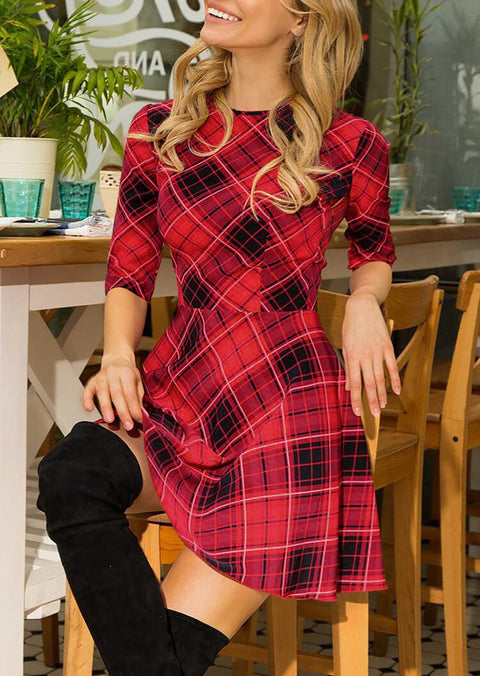 Plaid O-Neck Mini Dress
