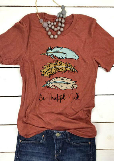 Leopard Be Thankful Y'all Feather T-Shirt Tee - Brick Red