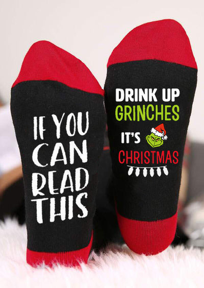 Drink Up Grinches It's Christmas Socks