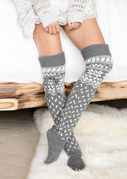Warm Over Knee Knitting Christmas Socks
