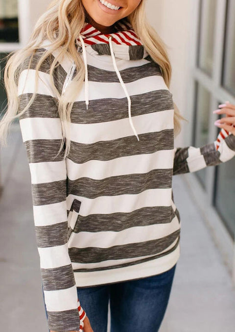 Striped Splicing Drawstring Kangaroo Pocket Hoodie