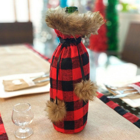 Christmas Plaid Wine Bottle Cover Bag