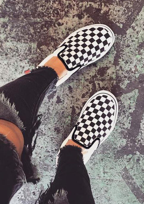Plaid Slip-On Round Toe Flat Sneakers