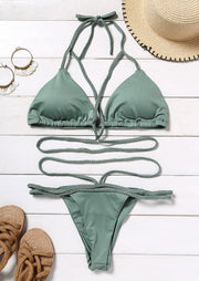 Criss-Cross Tie Halter Bikini Set without Necklace - Light Green