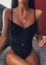 Ruffled Spaghetti Strap One-Piece Swimsuit without Necklace - Black