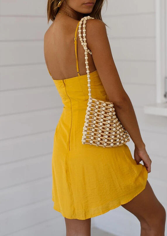 Hollow Out Tie Mini Dress without Necklace - Yellow