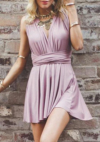 Ruffled Wrap Open Back Mini Dress without Necklace - Pink
