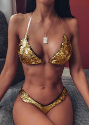 Color Changing Reversible Sequined Bikini Set without Necklace (Purple - Gold)