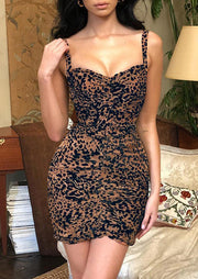 Leopard Printed Ruffled Bodycon Dress
