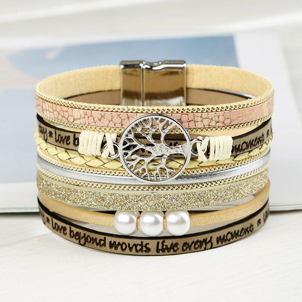 Magnet Buckle Pearl Leather Bracelet