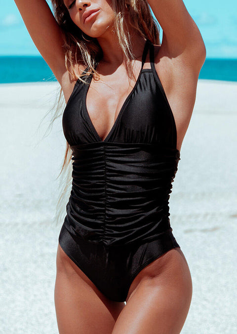 Ruffled Halter Tie One-Piece Swimsuit - Black