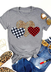 Plaid Leopard Printed Splicing Heart T-Shirt Tee - Gray