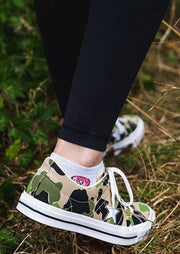 Camouflage Printed Star Lace Up Flat Sneakers