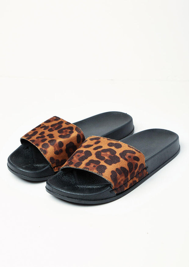 Leopard Printed Slip On Flat Sandals