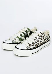 Leopard Printed Lace Up Round Toe Flat Sneakers