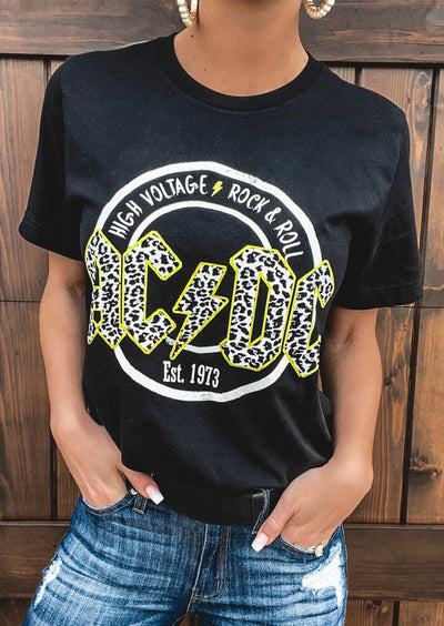 AC DC Leopard Printed Rock & Roll T-Shirt Tee - Black