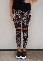 Floral Hollow Out Leopard Printed Skinny Leggings