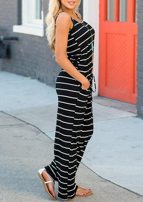 Striped Pocket Drawstring Jumpsuit without Necklace