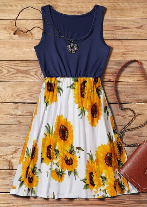 Sunflower Splicing Ruffled Mini Dress without Necklace- Navy Blue