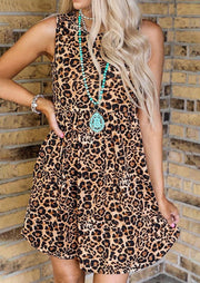 Leopard Pocket Ruffled Mini Dress without Necklace