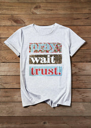 Pray Wait Trust Leopard T-Shirt Tee - Light Grey