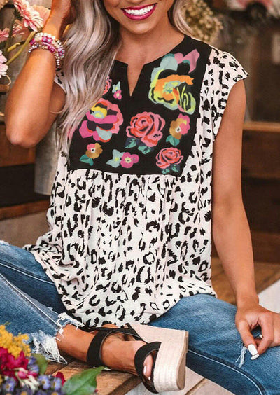 Leopard Flower Splicing V-Neck Blouse - White