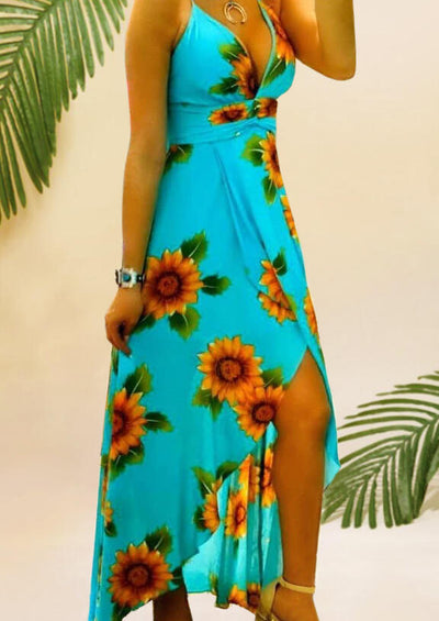 Sunflower Open Back Maxi Dress without Necklace - Cyan