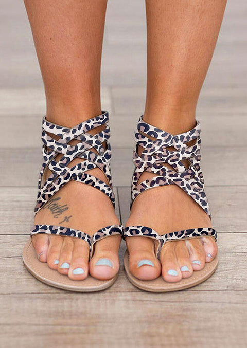 Leopard Summer Cross-Tied Zipper Flat Sandals