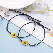Adjustable Sunflower Braid Alloy Bracelet