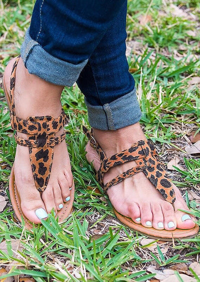 Summer Leopard Buckle Strap Flat Sandals