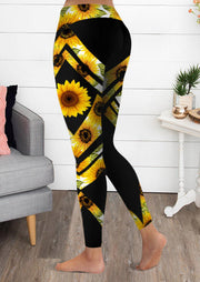 Sunflower Yoga Fitness Sports Activewear Leggings - Black