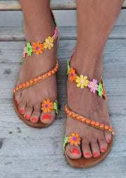 Sunflower Round Toe Flat Sandals