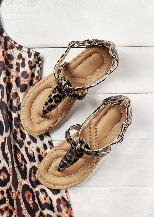 Leopard Criss-Cross Buckle Strap Flat Sandals