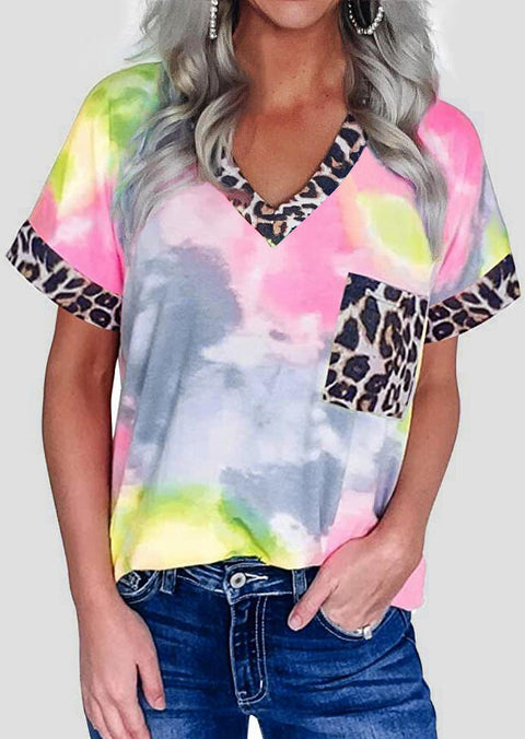 Tie Dye Leopard Splicing Pocket T-Shirt Tee