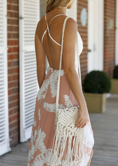 Lace Splicing Open Back Asymmetric Casual Dress - White