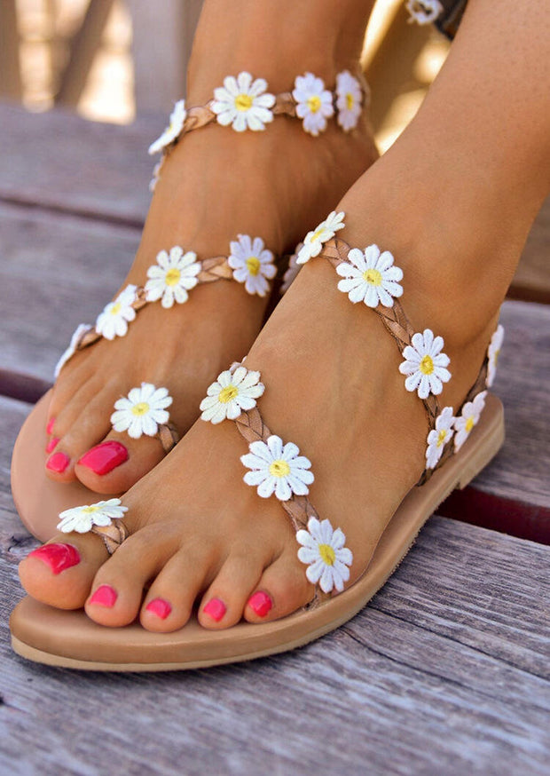 Summer Daisy Slip On Flat Sandals - Apricot