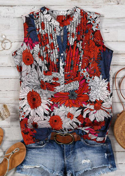 Floral Ruffled Button Tank