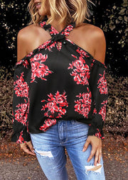 Floral Criss-Cross Cold Shoulder Halter Blouse - Black