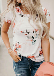 Floral O-Neck T-Shirt Tee without Necklace - Navy Blue