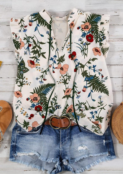 Floral Ruffled V-Neck Tank - White