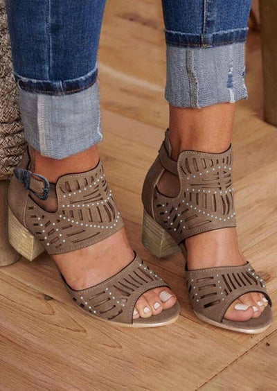 Rhinestone Hollow Out Buckle Strap Sandals - Light Coffee