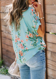 Floral V-Neck Blouse without Necklace - Cyan