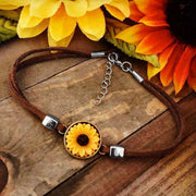 Vintage Sunflower Leather Bracelet - Brown