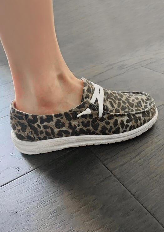 Presale - Leopard Lace Up Round Toe Flat Sneakers