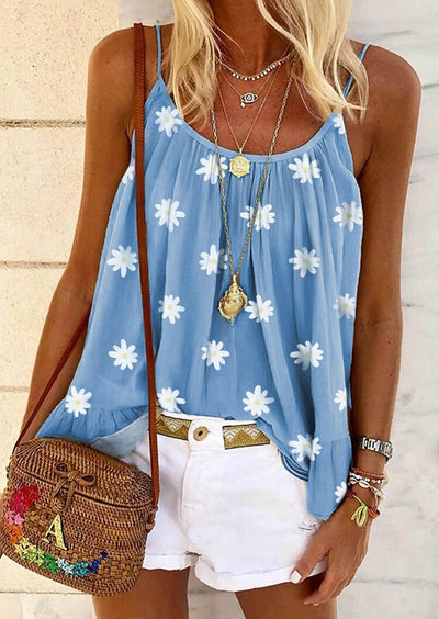 Daisy Floral Ruffled Camisole without Necklace - Light Blue