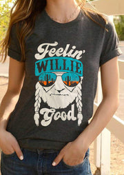 Feelin' Willie Good Cactus T-Shirt Tee without Necklace - Dark Grey