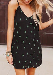 Cactus Tie Spaghetti Strap Mini Dress - Black