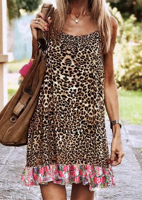 Leopard Floral Splicing Spaghetti Strap Mini Dress without Necklace