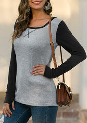 Color Block Thumbhole Baseball T-Shirt Tee - Gray